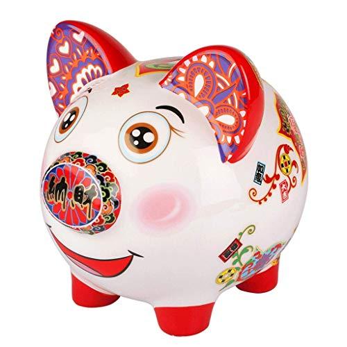 XHAEJ Hucha china, hucha de la suerte, hucha de la suerte, personalizada, decoración perfecta para niños (tamaño L: