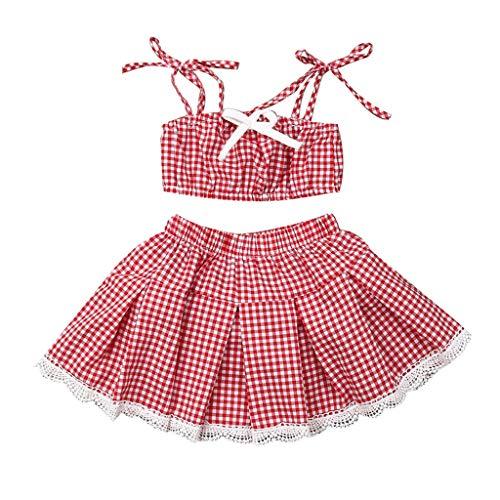 erthome Vêtements Enfant Filles bébé Enfant, Ensemble de Tenues d'été Jupe à Glands Strap Plaid 3Mois-3Ans (12-18 Mois)