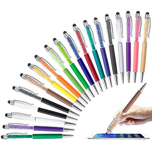 HOSTK 20 Piezas Bolígrafo Stylus 2 en 1 de, bolígrafo táctil con Pantalla retráctil de Diamante de Cristal, bolígrafos capacitivos para teléfono, iPad, Kindle, Nota, pestaña (20 Pluma de Tinta Negra)