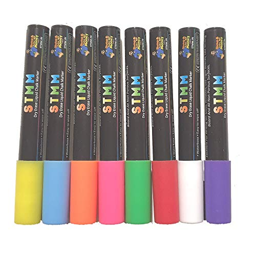 STMM Fluorescent Dry Erase Liquid Chalk Marker Pens with Bullet
