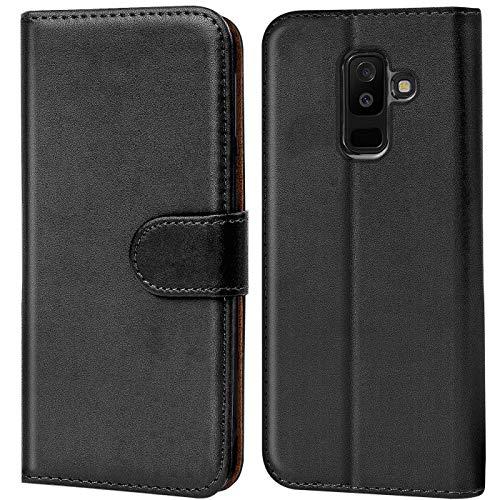 Verco Galaxy A6+ Hülle, Handyhülle für Samsung Galaxy A6 Plus Tasche PU Leder Flip Hülle Brieftasche - Schwarz