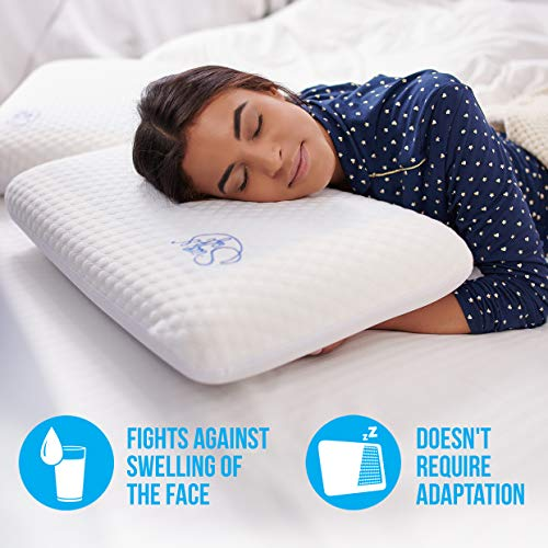 Memory Foam Pillow Cooling Gel - Prevents Back Neck Pain + Free Bamboo Washable Cover Aloe Vera Back Stomach Side Sleepers Men Women - Aids Cervical Pain Soreness Standard (Gel Traditional)