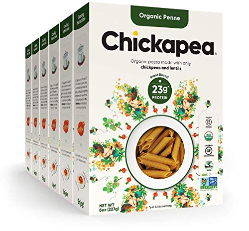 Chickapea Gluten Free Chickpea Pasta - Penne - Certified Organic Healthy Vegan Pasta, High in Protein, GF, Lower Carb, Kosher and Non GMO - 8oz each (6 Pack)