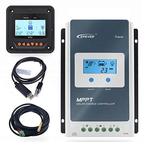EPEVER 40A MPPT Solar Charge Controller 12/24V DC Automatically Identifying System Voltage...
