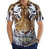 DogensHonz Camisa de Botones de la Plantilla de los Hombres Camisa Unisex 3D Impreso Divertido Tiger Tiger Camisa Tiger 6XL