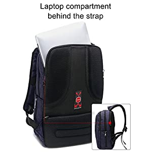 LAPACKER 15.6 inch Business Lightweight Laptop Backpack for Computer with USB Charging Port, Durable College Bookbag for Mens Women fits UNDER 17 Inch Laptop, Macbook - Black