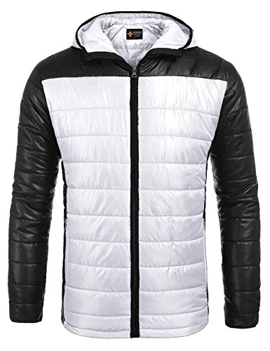 COOFANDY Mens Winter Insulated Hooded Puffer Down Jacket Lightweight Coat Outerwear, White, X-Large