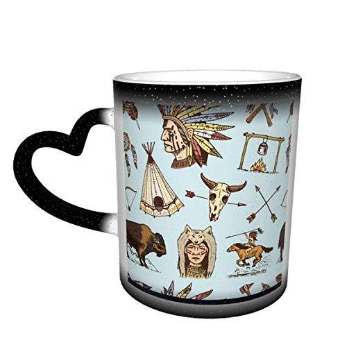 Taza de café de cerámica que cambia el calor, taza de té mágica sensible india o nativa americana para café, té, leche o cacao para hom