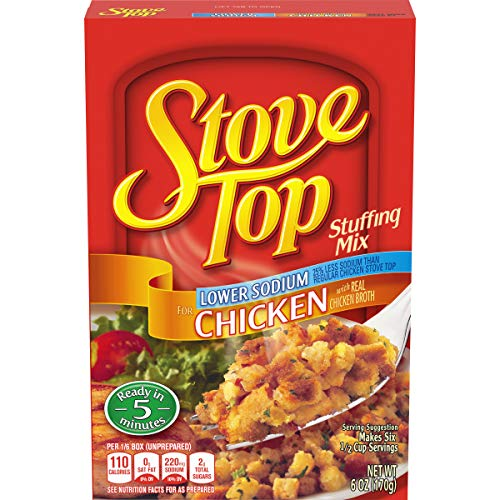 Stove Top Stuffing Mix, Chicken, Low Sodium, 6-Ounce Boxes (Pack of 12)