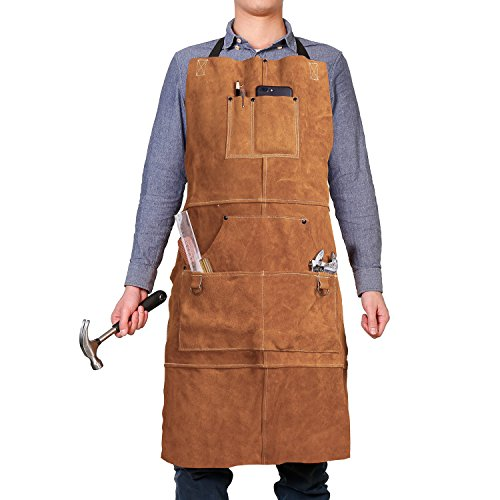 "QeeLink Leather Work Shop Apron with 6 Tool Pockets Heat & Flame Resistant Heavy Duty Welding Apron, 24"" x 36"", Adjustable M to XXL for Men & Women (Brown)"