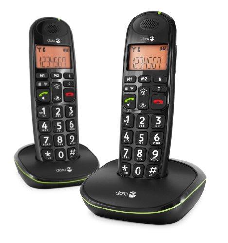 Doro PhoneEasy 100w Téléphone sans Fil DECT pour Seniors avec Grandes Touches et Son Amplifié (Noir X 2) [Version Française]