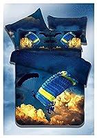 寝具、3Dエクストリームスポーツ寝具セット、快適で柔らかいキルトカバーセット寝具 (Color : 4, Size : 210x210cm)