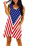 July 4th Women Beach Sleeveless Patriotic Dresses Red White Blue Summer V Neck Tank Dress L