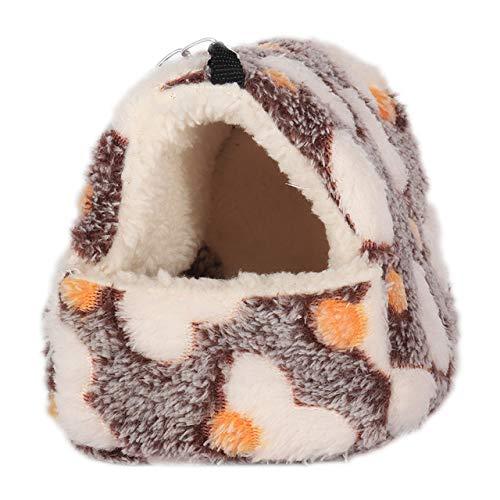 CBVG Warmer Winter verdickter Hauskäfig Hamster Baumwollnest Zuckersegelflugzeug Schlafsack Eichhörnchen Mini Igel hängender Käfig, Brown-L