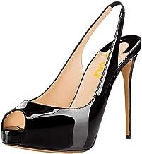 FSJ Women Peep Toe Extreme High Heels Platform Sandals Slingback Stiletto Prom Dress Pumps Size 4-15 US