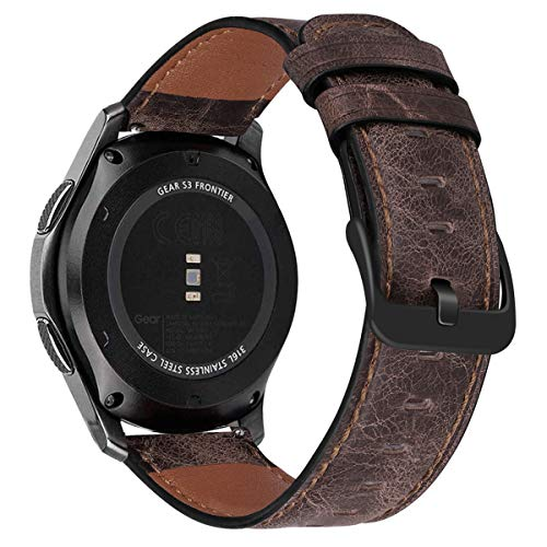 MroTech Armband kompatibel mit Samsung Gear S3 Frontier/Classic/Galaxy Watch 46mm Lederarmband 22mm Uhrenarmband Ersatz für Huawei 2 Classic/GT/GT2 46 mm Soft Leder Ersatzarmband-Nostalgic Kaffee
