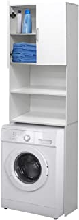 comprar comparacion ECD Germany Mueble de lavadora - Blanco - 62,5 x 25 x 190 cm - Armario de baño para lavadora secadora Aseo WC - Estante ag...