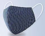 ファッションマスク ドット柄 2枚組 洗えるやわらかコットン素材 (ダークブルー)
