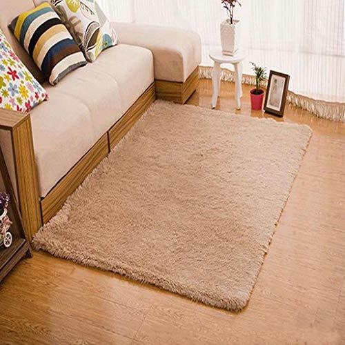 Teppiche weiche Flauschige Teppiche Anti-Skid Shaggy für Wohnzimmer Sofa Boden Dekoration Schlafzimmer Teppichbodenmatte(Khaki,40 * 60cm)