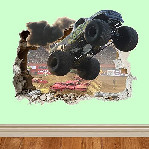 3D Monster Trucks Wall Smash LKW wand zertrümmern 3D Wandtattoo Kinder Jungen Mädchen Wand Aufkleber Wand Kunst Transfer Aufkleber