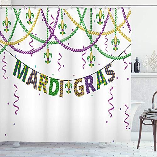 Karneval Duschvorhang Design mit Fleur De Lis hängen von bunten Perlen Stoff Stoff Badezimmer 72 '