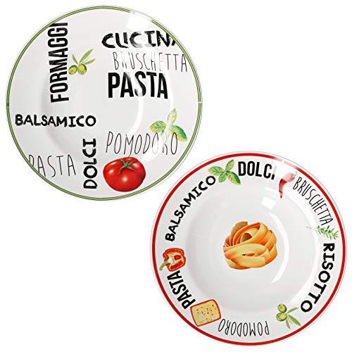 MamboCat 2er Set Pastateller weiß mit Dekor I Geschirrset Rot & Grün I Steingut Geschirr mit bunten Schriftzügen und Motiven I Tiefe Porzellan Teller auch für Suppen und Salate