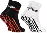 Rainbow Socks - Hombre Mujer Calcetines Antideslizantes de Deporte - 2 Pares - Blanco Negro - Talla 44-46
