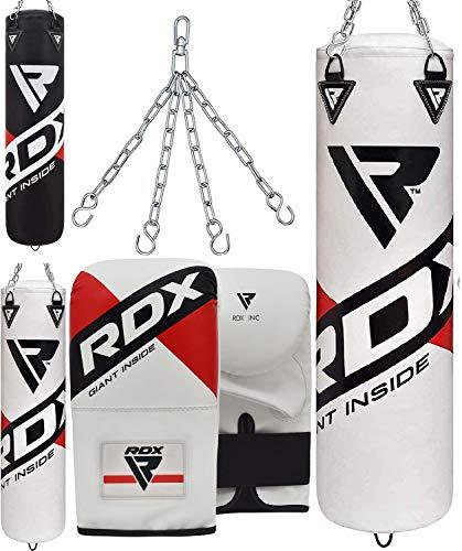 RDX Boxsack Set Gefüllt MMA Kickboxen Muay Thai Boxen mit Stahlkette Training Handschuhe Kampfsport Schwer Punchingsack 4FT 5FT Punching Bag (MEHRWEG)