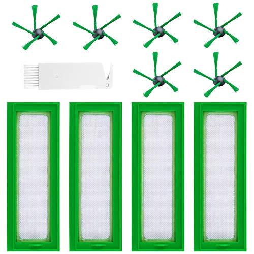 BluePower 11 Stück Ersatzteile Filter Ersatzbürsten für Vorwerk Kobold VR200 VR300 Saugroboter, Zubehör 4 HEPA Filter Staubfilter Allergiefilter und 6 Seitenbürsten und 1 Stück Kleine Bürste