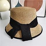 WDSZLH Sombrero para el Sol de Salida de Verano, Sombrero de Paja con Cinta a Juego de Colores, Sombrero de Cubo de Moda Informal para Mujer, Sombrero de Lavabo de Moda