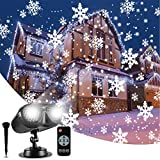 Christmas Lights Projector Outdoor, GreenClick Rotating Snowflake Projector Lights with Remote Control, IP65 Waterproof White Snow Decoration Lighting for Halloween Xmas Wedding Holiday