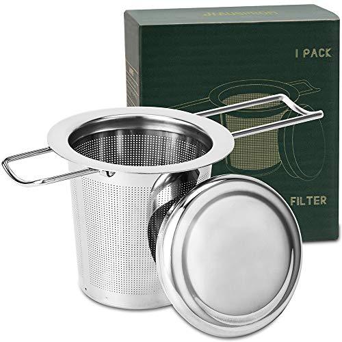 HAUSPROFI Infusor de té, colador de té de acero inoxidable 304 con tapa y asa plegable, filtro de té para teteras, tazas para preparar hojas sueltas, 1 paquete