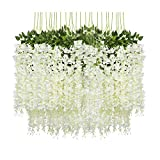 Pauwer 24 Pack (86.6 FT) Artificial Wisteria Vine Ratta Fake Wisteria Hanging Garland Silk Long...