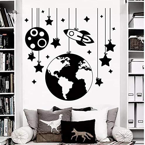 Wandtattoo,Jungen Kinderzimmer Schlafzimmer Kinderzimmer Art Deco Wandbild, Rocket Space Stars Erde Vinyl Wandtattoo, Wohnkultur Tapete 57X56Cm,Wandtattoo Wohnzimmer
