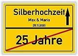 Unbekannt Geschenkidee zur Silberhochzeit - 25 Jahre Verheiratet - Ortsschild Bild Geschenk zum Jubiläum mit Namen & Datum
