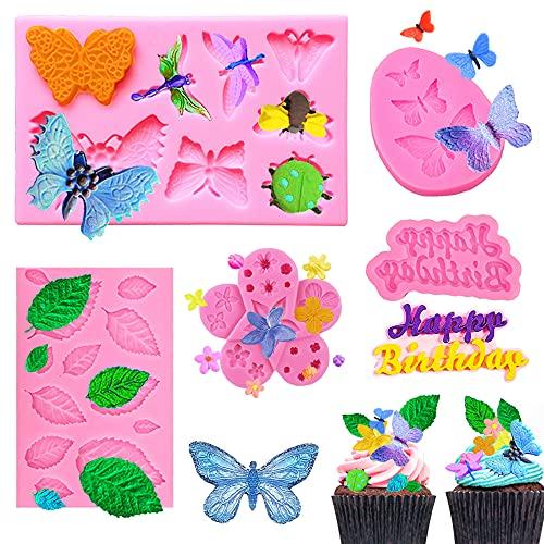 Moldes de silicona para fondant de 5 piezas, Maehsab Mini Mariposa Flor Hojas Insectos Feliz cumpleaños Molde, Moldes de polímero rosa de arcilla de caramelo de chocolate, Moldes pequeños antiadherentes para decoración de tartas y cupcakes