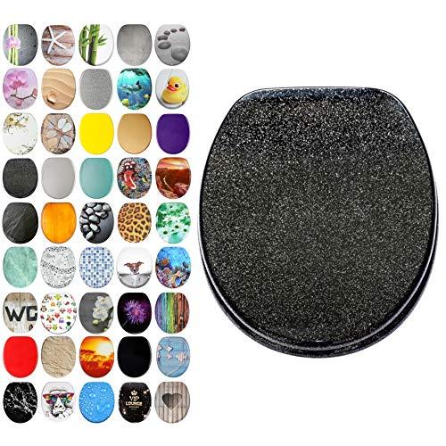 Glitzer WC Sitz, viele schöne glitzer WC Sitze zur Auswahl, hochwertige und stabile Qualität aus Holz (Schwarz)