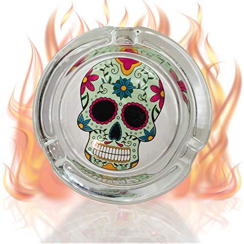 mtb more energy Deko Aschenbecher ''Sugar Skull Wheel'' - Durchmesser 8 cm - Tag der Toten Design - Totenschädel Ascher Dekoration