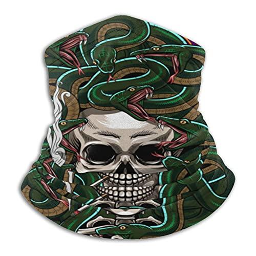MZZhuBao Skeletons and Snakes – Polaina máscara facial pasamontañas Headwear Bandana a prueba de polvo corte UV calentador de cuello ajustable para hombre mujer negro