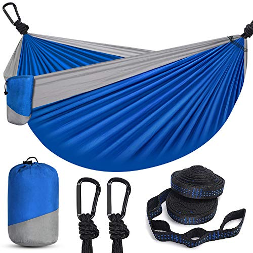 Hammock Camping Hammock BSKSSK Portable Double amp Single Lightweight Parachute Hammocks with 2 Tree Straps amp 2 DShape Carabiners for Indoor Outdoor Backpacking Beach Travel Yard Hiking and Garden