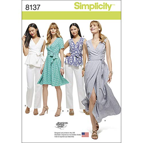 Simplicity 8137 Women's Wrap Dress, Top, and Pants Sewing Patterns, sizes 10-18