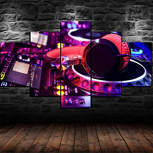 Hgjfg Cuadro Moderno En Lienzo 5 Piezas Xxl Tocadiscos DJ
