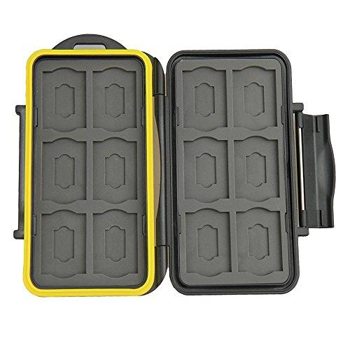 JJC MC-SDMSD24 Water-Resistant Holder Storage Memory Card Case for 12 SD Cards...