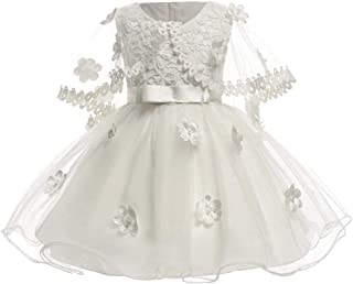 KINDOYO Baby Girls Dress - Baby Newborn Girls Tulle Flower Pretty Sleeveless Baptism Wedding Princess Dresses
