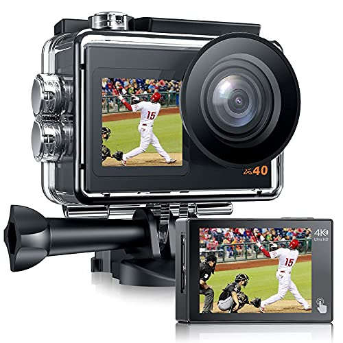 アクションカメラ4K / 30FPS 20MPEIS2.0手ぶれ補正 アクションカム デュアルスクリーンタッチパネル 水中カメラ40M防水(防水ケース付き)1350mAhバッテリー2個 170度広角 外部マイク付き WiFi機能搭載SONYセンサー 連写 スロモーション スポーツカメラ 日本語取扱書付き【18ヶ月品質保証】 X40