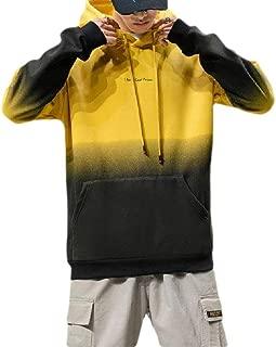 Howely Mens Long Sleeve Sport Gradient Ramp Hooded Sweatshirt with Pockets