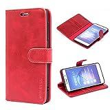 Mulbess Handyhülle für Huawei Honor 6X Pro Hülle Leder, Honor 6X Handy Hüllen, Vintage Flip Handytasche Schutzhülle für Huawei Honor 6X / 6X Pro Hülle, Wein Rot