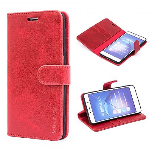 Mulbess Handyhülle für Huawei Honor 6X Pro Hülle Leder, Honor 6X Handy Hüllen, Vintage Flip Handytasche Schutzhülle für Huawei Honor 6X / 6X Pro Case, Wein Rot