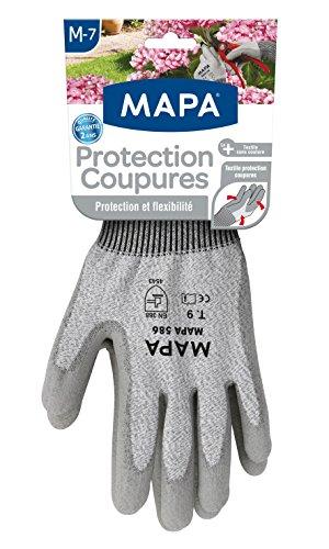 Mapa - Protection coupures - Gants de jardinage enduction polyuréthane et poignets ajustés - Protection maximale aux objets ou outils coupants - Taille 7/M