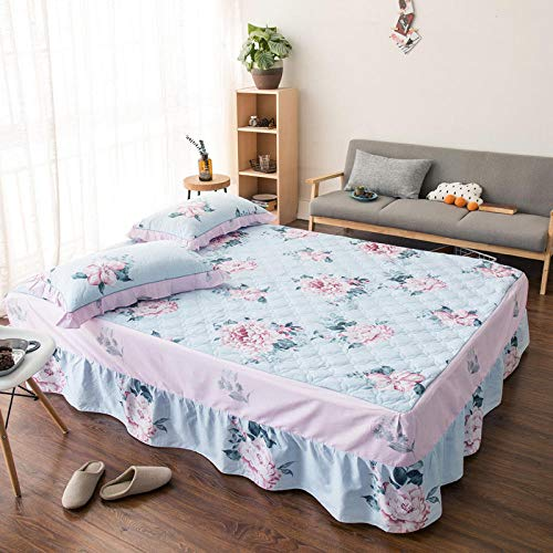 JRDTYS Easy Care Soft Brushed Microfiber Fabric -Shrinkage and Fade ResistantCotton bed skirt with lace protective cover-24_180*200cm